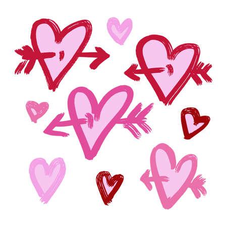 Vector pintado a mano de la tinta con el corazón. Fondo abstracto. Garabatos.