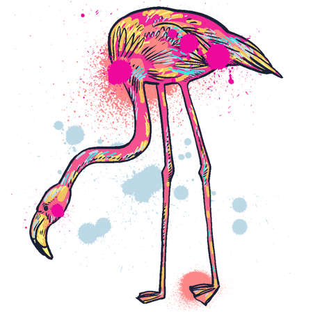 Pink flamingo hand-pickted and hand-drawn illustration isolated Illustration