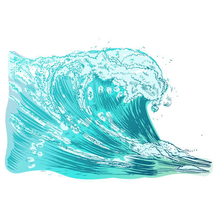 Vector Illustration of hand-drawn handpicked waves