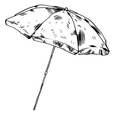 Beach umbrella, isolated vector hanpicked illustration