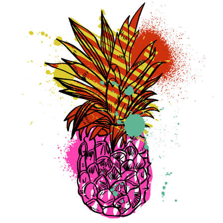 Pineapple tropical fruit. Vector object. Health symbol