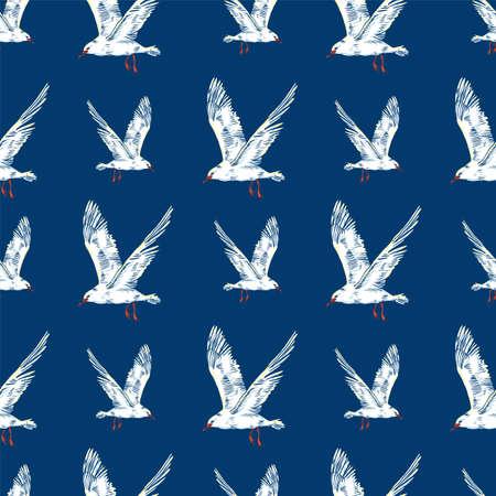 Gull flight bird and seabird, Seamless pattern