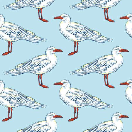Gull flight bird and seabird . Sea. Seamless pattern