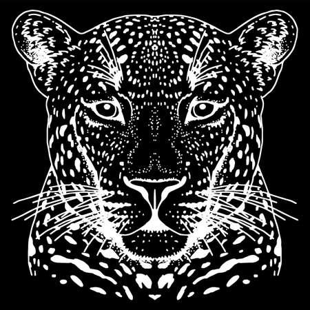 ヒョウの顔のタトゥー、ベクター イラスト、印刷