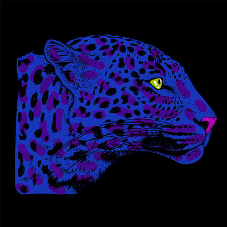 Leopard face tattoo ,Vector illustration, print Illustration