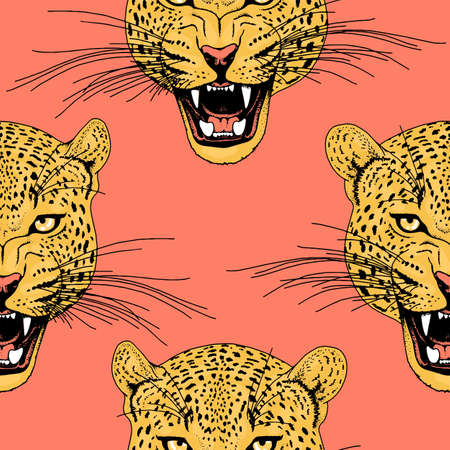 Leopard face tattoo ,Vector illustration, print fashion Stock Illustratie