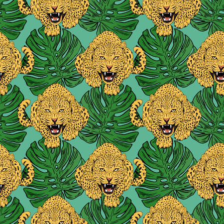 leopards in colorful tropical flowers seamless background. Animal illustration Stock Photo