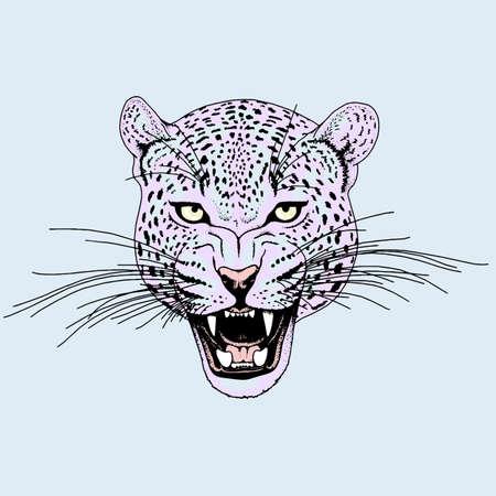 Leopard face tattoo ,Vector illustration, print Ilustração
