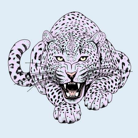 Leopard face tattoo ,Vector illustration, print Vettoriali