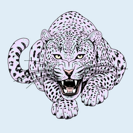 Leopard face tattoo ,Vector illustration, print Çizim