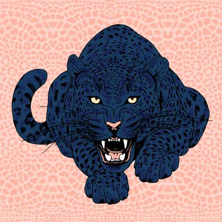 ojos negros: la cara del leopardo del tatuaje, la ilustración vectorial, imprimir