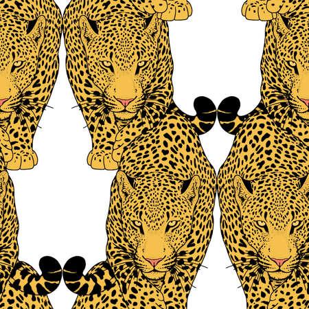 royal safari: illustration of leopard, graphic vector animal, isolated tattoo symbol