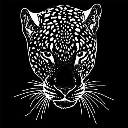 Leopard face tattoo ,Vector illustration, print fashion Illustration