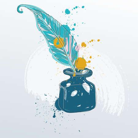 Vector Illustration des Federspulestiftes, der in der Flasche Tinte steht. Standard-Bild - 76228814