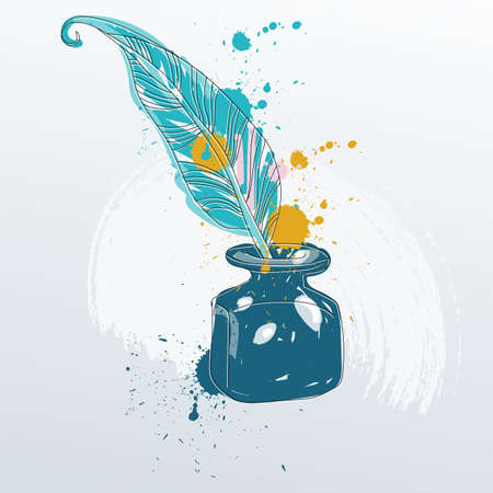 Vector illustration of feather quill pen standing in the bottle of ink.