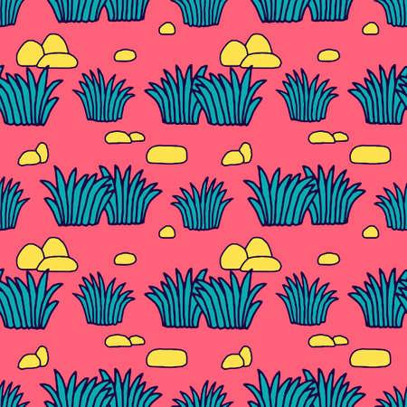 Seamless Tropical Jungle Palm Leaves Pattern. Doodle Exotic Flower. Vector Design Illustration.