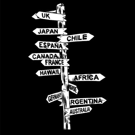 Signpost. Direction signs, different countries UK, Japan, Chile, Spain, Canada France Hawaii Africa Germany Argentina Australia Isolated illustration
