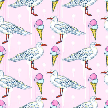 seamless pattern Seabirds. Set of beautiful seagulls and ice cream, summer time and sea fun mood