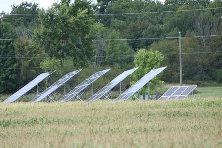 Solar Panels erected in an open field