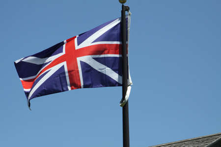 Flag of the United Kingdom gently waving in a light breeze Stock Photo