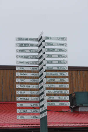 mileage: Destination and mileage marker, indicating direction, distance, and destination from a central location