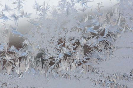 very cold: Frost formed a design on the outside of a house window on a very cold afternoon in the winter
