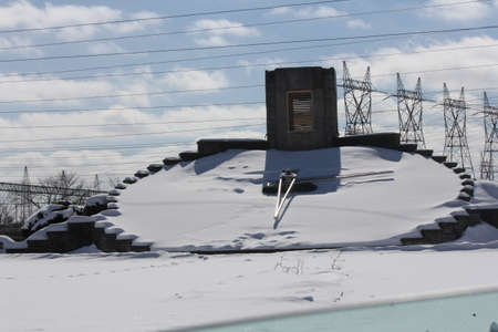 Floral Clock in Niagara region covered with thick snow during the winter months