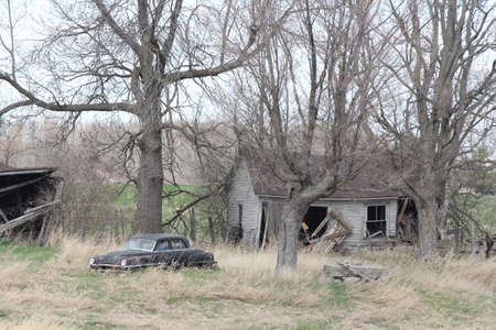 abandoned car: Old abandoned rural property with old car trees and damaged buildings.
