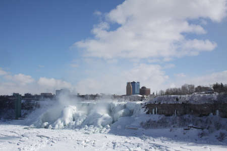 american falls: Niagara Gorge, American Falls, boulders and area at base of the American Falls, covered with a thick coat of Ice.