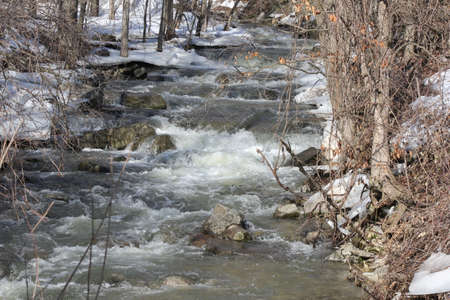 Water melt-off swiftly running down a rocky slope during a seasonal melt.
