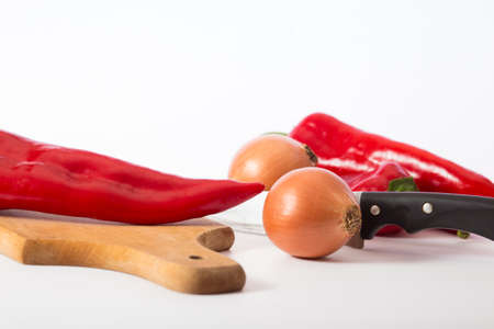 red capa pepper and other vegetables preparing for cutting