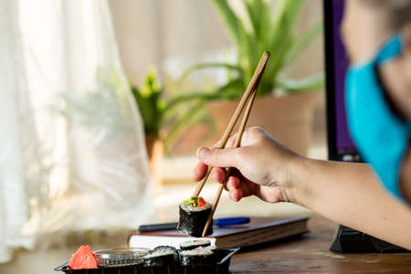 Order sushi at home during  home quarantine