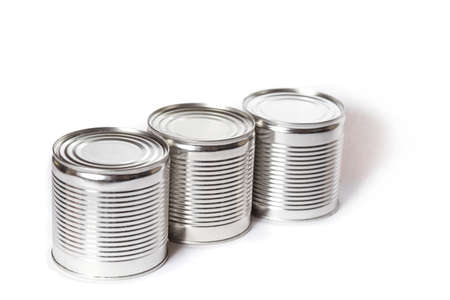 Metal cans with different preservation isolated on a whiye.