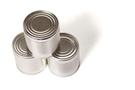 Three metal cans with preservation isolated on a white background, view from a top. Stock fotó