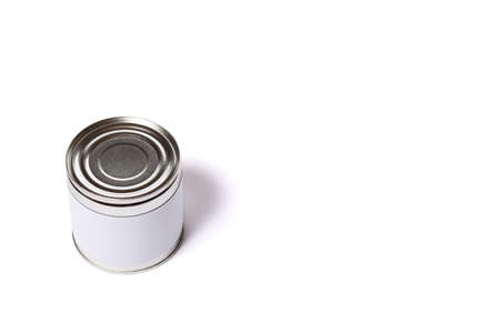 One metal can no lable isolated on a white with copy space.