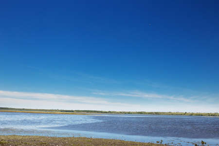 shallow salt lake on a background of clear blue sky with copyspace.