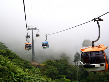 Cable cars at Genting Highlands, Malaysia.
