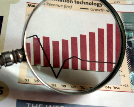 A magnifying glass focusing on a chart in the business section of the newspaper. Stock Photo - 313829