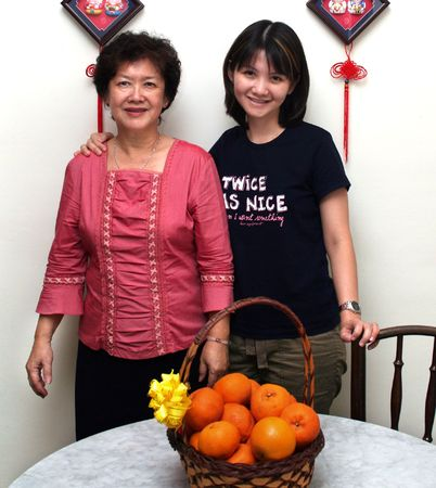 An asian pair: Mother and daughter.