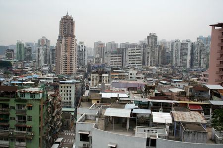 congested: Haphazard development in an area in downtown Macau. Stock Photo
