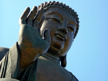 veneration: The bronze statue of Lord Buddha on Lantau Island, Hong Kong.
