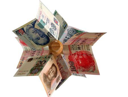 Le valute asiatiche importanti hanno organizzato su un palo di legno.