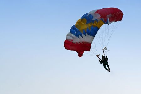 freefall: A parachutist on his way down. Stock Photo