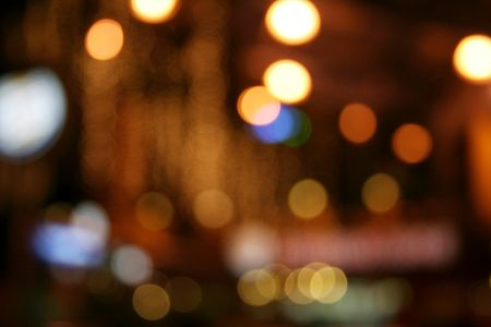 Colorful neon lights in soft focus.