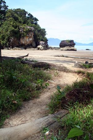 Jungle trail leads to the beach at Bako National Park in Sarawak, Malaysia. Stock Photo - 661863