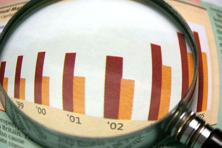 A magnifying glass focusing on a graph in the business section of the newspaper.