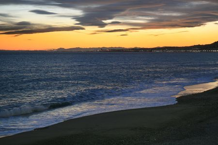 Sunset view of the Mediterranean sea from the city of Nice in French Riviera. photo