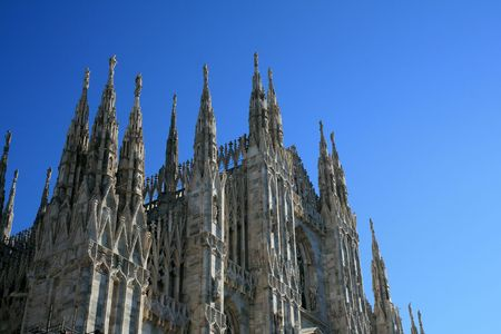 stonework: Duomo Cathedral in the heart of Milan, Italy. Stock Photo