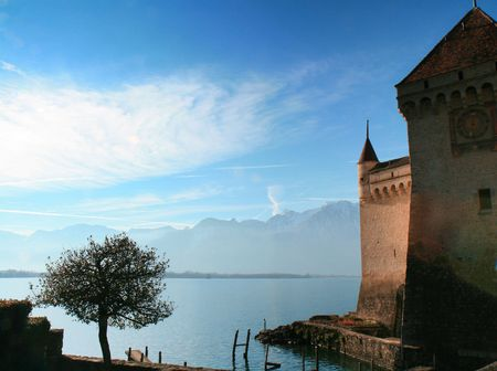 Next to Chillon Castle in Montreux, Switzerland, overlooking Lake Geneva with the Alps in the background. Stock Photo