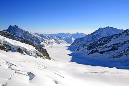 aletsch: The Great Aletsch Glacier as viewed from Jungfraujoch, Switzerland. Stock Photo